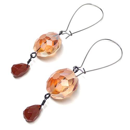Carnelian Briolette Large Kidney Wire Earrings Glass Gunmetal