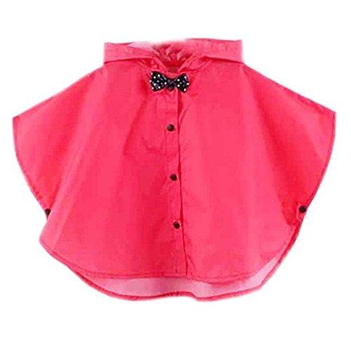 Kangkang@ Lovely Bowknot Raincoat Baby Girl Rain Jacket Toddler Poncho,Rose Red,For 2-3Y