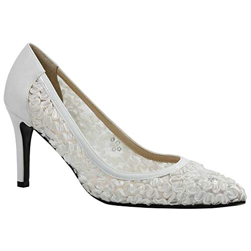 J. Renee Women's Camellia Pointy Toe Pump,White Lace/Satin,US for sale  Delivered anywhere in USA