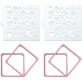 Spiralization Direct 2 Pieces Cookie Stencil Holder Magnetic Stencil Frame with 2 Pieces Cookie Stencils Cookie Decorating Supplies