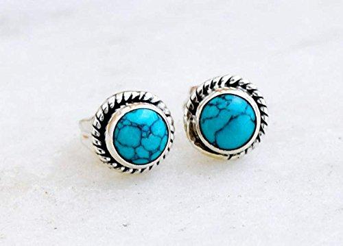 efe0ec3cf 925 Sterling Silver Turquoise Stud Post Earring Stone Gemstone Earring 6 MM  Round Girl Women Gift Jewellery: Amazon.ca: Handmade