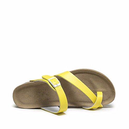 No. 55 Shoes Estate Lady Sandali Classica Discesa con Fondo Spesso Ciabattine,noi6.5-7/EU37/UK4,5-5/CN37,Giallo