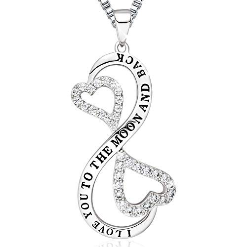 Ado Glo Birthday Gift for Her 'I Love You to The Moon and Back' Infinity Heart Pendant Necklace, Fashion Jewelry for Women and Girls, Anniversary Present for Girlfriend Wife Sister - Present Small