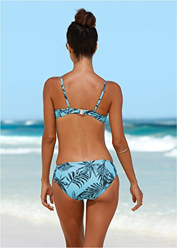Damen Bikinihose mit Raffung, 217462 in Blau/Schwarz