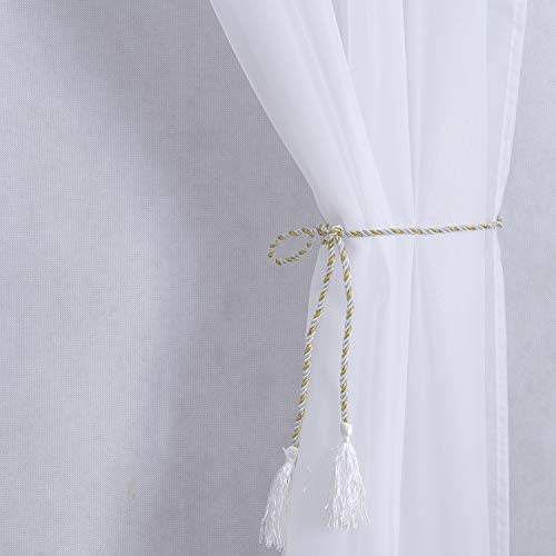 PRAVIVE Outdoor Sheer Curtains 84 - Waterproof Tab Top Indoor Outdoor Curtains Patio Privacy White Sheer Drapes Blinds for Porch/Deck/Pergola with 2 Tiebacks, W54 x L84 Inches, 2 Panels by PRAVIVE (Image #3)