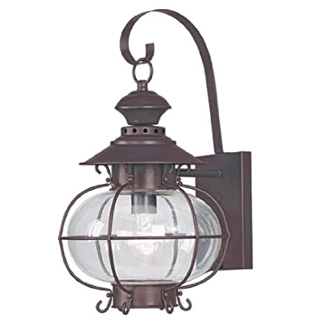 Bronze Livex Lighting 2223-07 Outdoor Wall Lantern with Hand Blown Clear Glass Shades