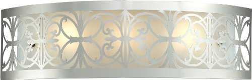 Elk Lighting 11432/3 25 by 7-Inch Willow Bend 3-Light Bathbar with Laser Cut Stainless Frosted Glass Shade, Polished Chrome Finish (Chrome Cut Glass)