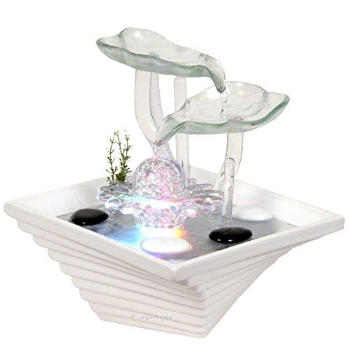 Zimmerbrunnen Innenbrunnen Cristalline Blätter mit LED Farb Beleuchtung 27 cm