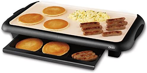 Oster Titanium Infused DuraCeramic Griddle with Warming Tray, Black Cr me CKSTGRFM18W TECO
