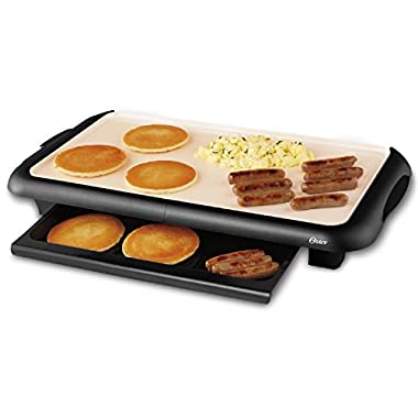 Oster CKSTGRFM18W-ECO DuraCeramic Griddle with Warming Tray, Black/Crème