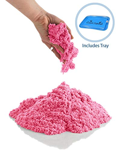 CoolSand Pink 5 Pound Refill Pack - Including: 5 Pounds Moldable Indoor Play Sand, Storage Bucket & Inflatable Sandbox