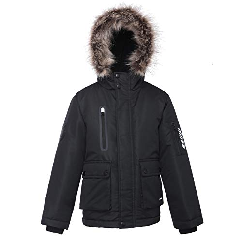 Rokka&Rolla Boys' Water-Resistant Lined Hooded Thickened Parka Puffer Jacket with Removable Faux-Fur Hood Trim
