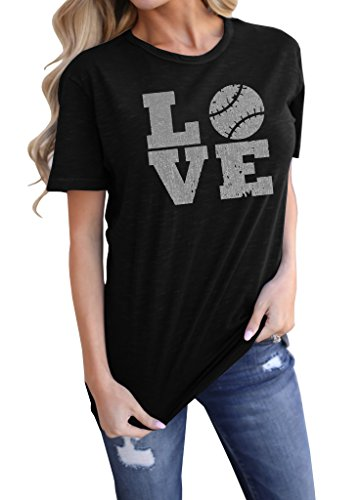 (Meilidress Womens Love Baseball Tshirts Funny Sporting Lover T Shirt Tops)