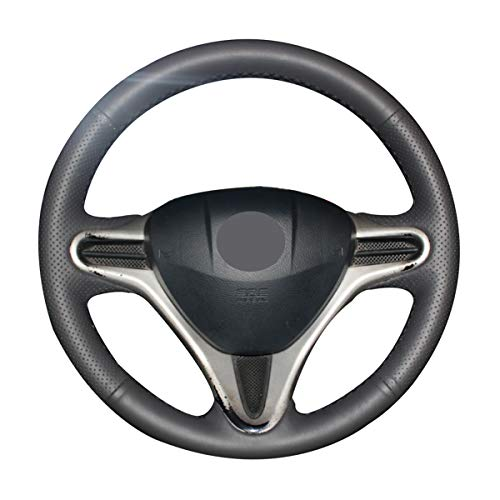 Mewant Black Artificial Leather Car Steering Wheel Cover for Honda Fit 2009-2013 City 2009-2013 Jazz 2009-2013 Insight 2010