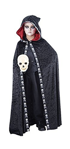 Kids Children Halloween Skull Hooded Cape Costume Age 4-12 Years (Large (Age 10-12 Years), Black)