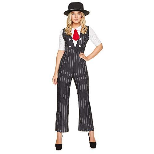 Gangster Boss Women, Pinstripe Suit, Halloween Criminal Costume, -