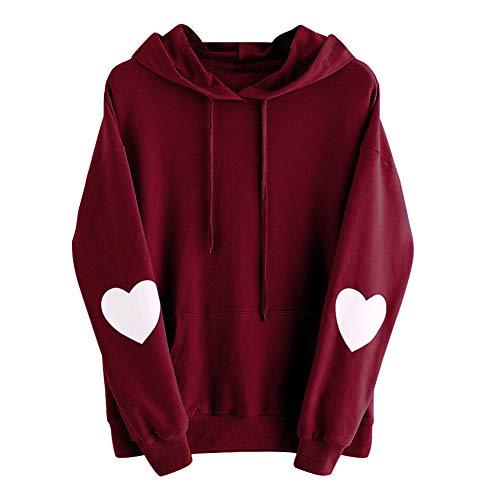 Longue Loose Hoodie Tops Hip Uni Sweat Sweat Casual Cœur Femme Blouse shirt Capuche Hop Autumn Tunique Manche Pull Ado Hiver Rouge Élégant Pullover Streetwear À xqPPvwRfY