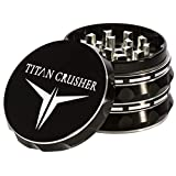 Herb Grinder {Upgraded Version} - Large 2.5 Inch Black - 4 Piece Anodized Aluminum - Non Stick - with Pollen Catcher - TITAN CRUSHER (Black with Strong Grip)