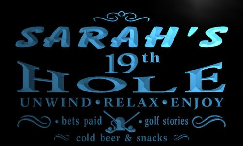 pig023-b Sarah's 19th Golf Hole Beer Bar Neon Light (19th Hole Sign)