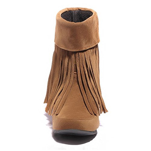 Fashion Boots High Fringe On COOLCEPT Pull Women Yellow Ankle C6xpwxq5Fn