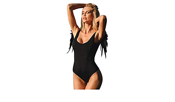 a01f06ad4b2e6 Amazon.com  Kehen Women Swimwear One Piece Swimsuit Retro Solid Color Sexy  Features Back Beach Swimsuit with Wings of Angels  Clothing
