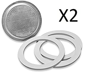 Bialetti Stainless Steel Filter Plate Replacement 6 Cup Espresso Maker (2-Pack) by Bialetti