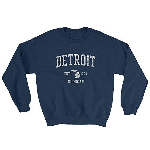 Detroit Michigan MI Sweatshirt Vintage Sports Design hot sale