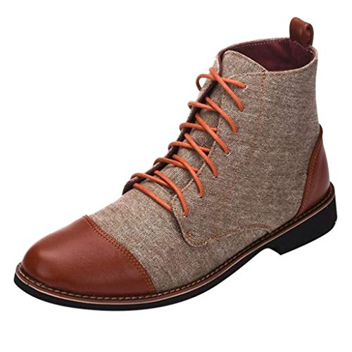 Londony♚ High Top Martin Boots, Men Leather Lace Up Boots Boys Round Toe Boots Business Boots Shoes Daily Work Wedding Khaki