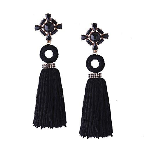 Solememo Vintage Black Long Tassel Earrings Rhinestone Ethnic Chinese Earrings for Women Jewelry Tassel Long Earrings (Black Ring With Rhinestones)