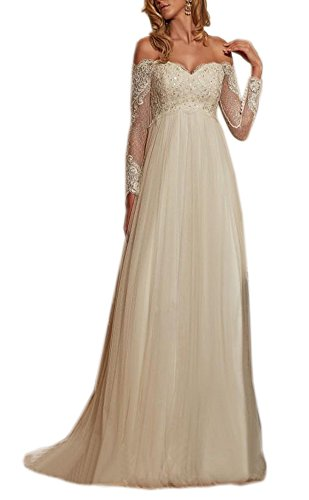 (Datangep Women's Beading Off-Shoulder Lace A-line Sweep Train Beach Wedding Dress for Bride Ivory US8)