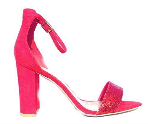 Zapatos Toe Rojo Mujer Formales Look New Peep Fiesta wqW0TXfU