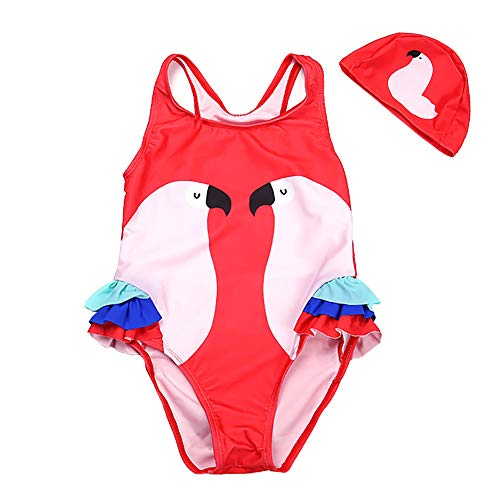 Baby Toddler Girl Unicorn Swimsuit-One Piece Swimwear Infant Sunsuits Bathing Suits (Rose Pink Parrot, 3-4T) ()