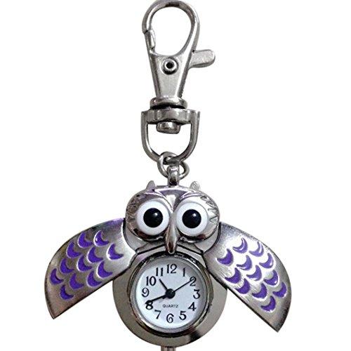 ng Fashion Gorgeous Owl Watch Clip Pocket Keychain (Purple) (Mini Watch Keychain)