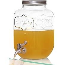 Brilliant - Mason Jar Glass Yorkshire Beverage Dispenser, 1 Gallon (Stainless Steel)