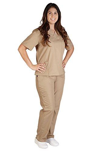 Orange Prison Jumpsuit Womens (NATURAL UNIFORMS Women's Scrub Set Medical Scrub Top and Pants (M, KHAKI))
