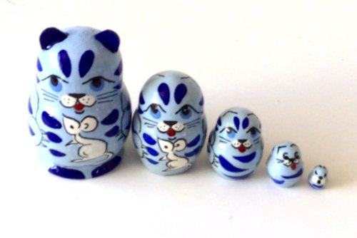 Blue Mini Doll - Blue Cat with Mouse MINI nesting dolls Russian Hand Carved Hand Painted 5 piece matryoshka Set