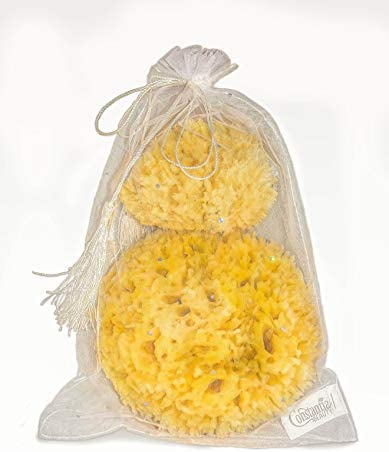 """Premium Natural Sea Wool Sponges - 2 Soft Real Sponges 6""""-7"""" (Large) & 3""""- 4"""" (Medium); Perfect Luxury Gift for Bath, Shower and Cosmetic Facial Cleansing by Constantia Beauty"""