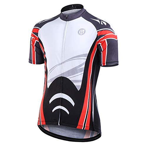- Cycling Jerseys Tops Biking Shirts Short Sleeve Bike Clothing Full Zipper Bicycle Jacket Pockets for Men (Red,XL)