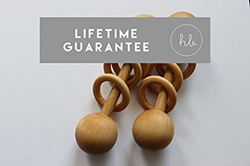 Organic Wood Montessori Styled Baby Rattle by Homi Baby - Perfect Grasping Teething Toy for Toddlers - Handmade in The USA - Sealed with Organic Virgin Coconut Oil (Baby Blush)