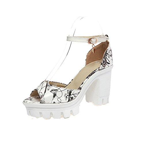 VogueZone009 Women Buckle PU Peep-Toe High-Heels Assorted Color Sandals, CCALP013341 Black