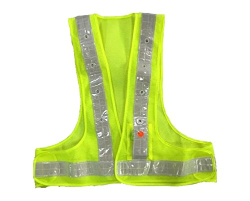AidrPro LED Light Safety Vest with Reflective Stripes - Green (Led Light Vest)