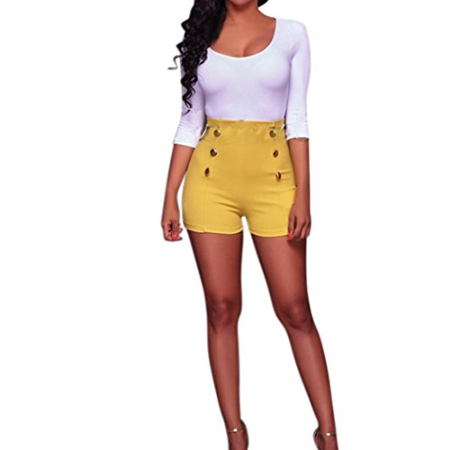 French High Chair (Women Shorts Daoroka Ladies Sexy High Waist Button Zipper Solid Casual Slim Fit Summer New Fashion Hot Beach Pants (M, Yellow))