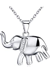 YFN 925 Sterling Silver Reminder Good Luck Elephant Crystal Rhinestones Pendant Necklace for Women 18''