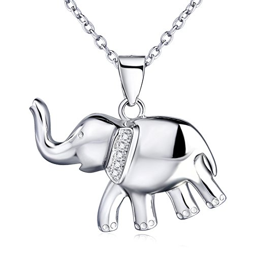Vancleef Costume (YFN 925 Sterling Silver Reminder Good Luck Elephant Crystal Rhinestones Pendant Necklace for Women 18'')