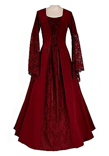 Plus Size Dancing Queen Costume (Lynwitkui Women's Medieval Renaissance Costume Dress Lace Up Retro Gown Cosplay Dress)