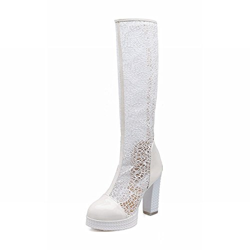 Carolbar Elegance Mode Féminine En Voile De Maille Brodé En Forme De Croix Zipper Chunky Talon Tall Robe Bottes Blanc