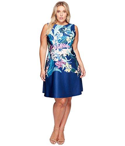 [アドリアナパペル] Adrianna Papell レディース Plus Size Tropical Essence Printed Scuba Jewel Neck Fit and Flare Dress ドレス Navy Multi 14W [並行輸入品]