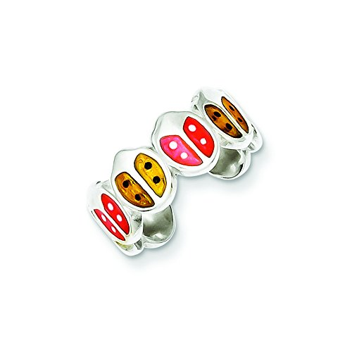 Sterling Silver Red & Orange Enameled Ladybug Toe Ring