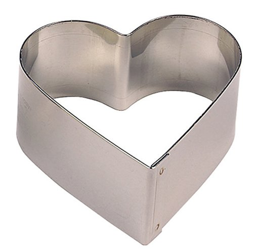 Paderno World Cuisine Pack of 6 Heart-Shaped Stainless Steel Pastry Rings, 2-5/8-Inch