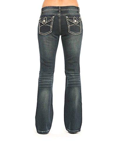 Rose Royce Bootcut Women's Faded Designer Statement Jeans by Premium Red Label London Denim (Dirty Dark Jessalynn) (28)
